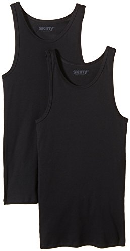 Skiny Herren Unterhemd Shirt Collection Men Hr. Tank Top DP, 2er Pack, Einfarbig, Gr. Medium, Schwarz (BLACK 7665)