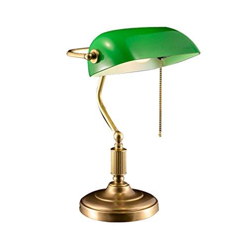 Lampe De Table La lampe simple de bureau de banquier exécutif de conceptions simples de Tableau avec l'ombre en verre antique complète 26 * 40cm de cuivre