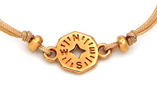 Imagen de pulsera para mujer con brújula y perlas de metal rosa de macramé de color marrón, longitud variable mediante cierre de fijación alternativa