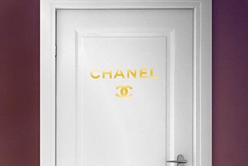 chanel-logo-vinilo-decorativo-puerta-pegatinas-oro-brillante-alto-43cm-x-ancho-40cm