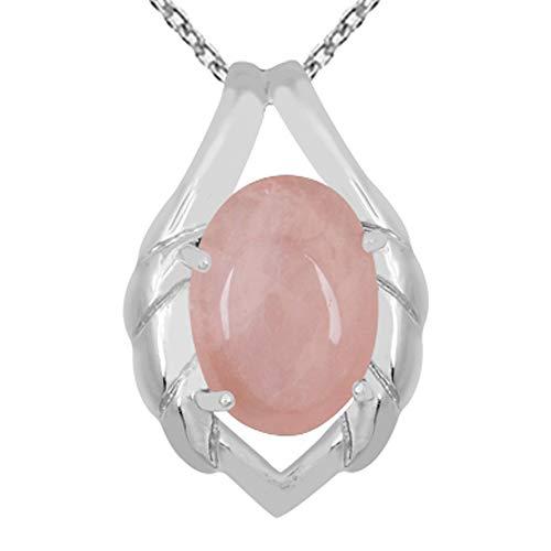 Collar con colgante de cuarzo rosa de Orchid Jewelry, de 15 quilates, de cuarzo rosa, con colgante de cuarzo rosa, colgante de plata de ley, collar con colgante rosa, joyería de cuarzo rosa para mujer