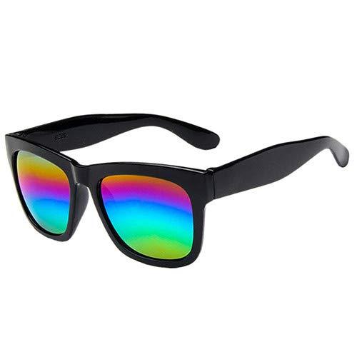 Man9Han1Qxi Sport-Sonnenschutz-im Freien quadratischer Rahmen-Bunte Sonnenbrille-Geschenk-Anti-UVsonnenbrille der Männer Frauen Black Frame Colorful Lens