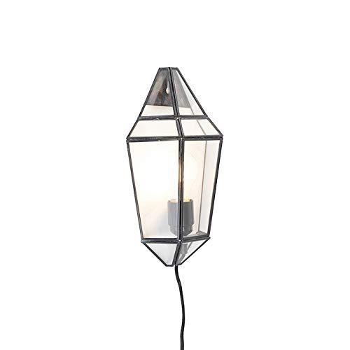 QAZQA Art Deco Applique Murale Art Déco moitié Noir avec abat-jour - Scone verre/Métal Transparent,Noir Rectangulaire E27 Max. 1 x 40 Watt/Luminaire/Lumiere/Éclairage/intérieur/Salon/Cuis