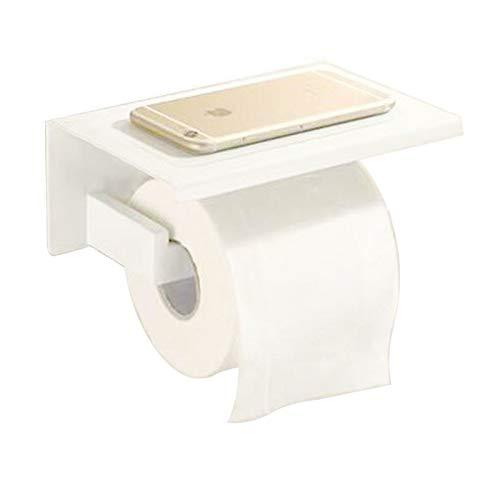 WANDOM Spiegel Chrom Poliert & Schwarz & Edelstahl Gebürstet Toilettenpapierhalter Top Place Things Platform, B117-2 Weiss -