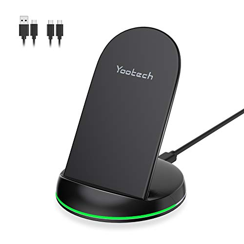 YOOTECH Wireless Charger,7.5W Qi Wireless Ladegerät für iPhone 11/11 Pro/11 Pro Max/XS MAX/XR/XS/X/8/8 Plus,10W Fast Wireless Ladestation Induktive für Galaxy S10+/S10/S10e/Note 9/S9/S9 Plus/Note8 usw