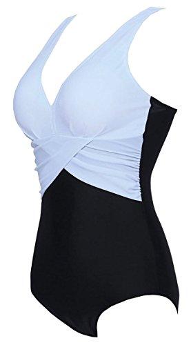 DELEY Donne Sexy V-Collo Costumi Da Bagno Un Pezzo Del Costume Da Bagno Monokini Cuciture A Colori Beachwear Bianco