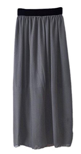 Godet Top (Honeystore 20 Farben Röcke Damen Korean Stil Boho Plissee Maxi Rock Elastisch Bund Tanz-Kleid Chiffon Rock Lang Grau One Size)