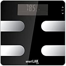 smartLAB fit W Bluetooth ANT + cuerpo de análisis digital | Grasa corporal Medición del equilibrio de peso, calorías, agua, masa muscular, hueso | Báscula inteligente para Android, Apple iOS, iPhone, App, Garmin Connect, S Health