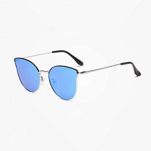 DX Polarisierende Neue weibliche Katzenauge blenden Farbe modische Anti-Glare-Driving-Outdoor-Brille Polarized Shade Glasses (Farbe: Silver Frame Ice Blue Lens)
