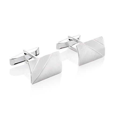 STERLL Herren Manschettenknöpfe Silber Sterlingsilber gebürstet mit glänzenden Streifen Schmucketui edle Geschenke für Männer