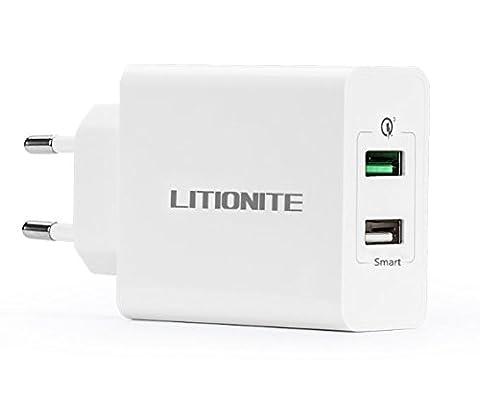 Litionite® Bolt 2 Chargeur USB Mur Secteur 30W avec 2 ports à grande vitesse + Technologie charge rapide QUICK CHARGE 3.0 - Chargeur intelligent portable de Voyage / Maison pour Smartphone et Tablet (White)