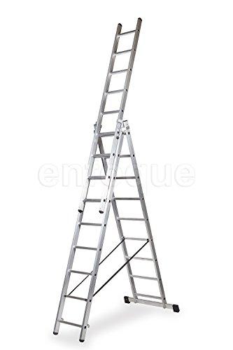 ALTIPESA Escalera Profesional de Aluminio Triple Tijera un Acceso con Tramo Extensible 3 x 9 peldaños Serie Triple