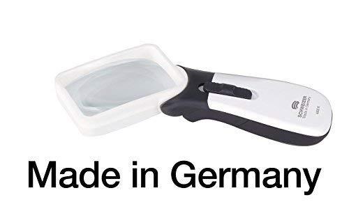 Leselupe - Handlupe mit LED Licht, Made in Germany, Batteriebetrieb, Vergrößerung 3,5X (10D), asphär. Linse 75x50 mm, für Rechtshänder, kontrastreich, 2 Helligkeitsstufen, SCHWEIZER ERGO-Lux MP mobil