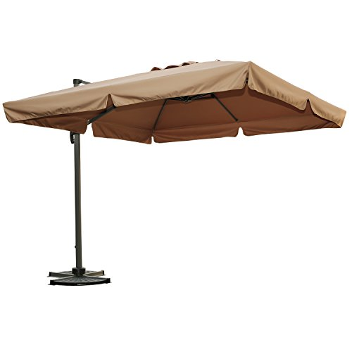 Angel Living® 300x300 cm Sonneschirm Sonnenschutz neigbar Rostfrei aus Aluminium und Polyester