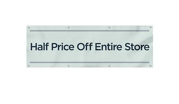 CGSignLab Half Price Off Entire Store 9x6 Stripes White Heavy-Duty Outdoor Vinyl Banner