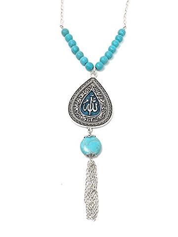 Remi Bijou - Ethno Statement Lange Halskette mit grossem Anhänger - Grünes Tropfen Allah Muslim Islam - Türkis blau Perlen Silber Farbe