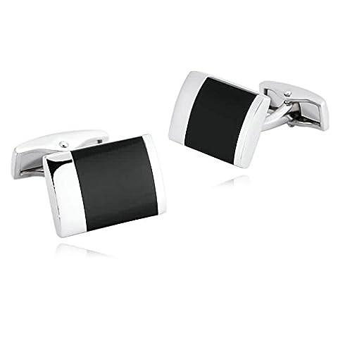 AMDXD Bijoux en acier inoxydable Boutons de manchette pour hommes rectangle Argent Noir Boutons de manchette 1.8x 1.3cm