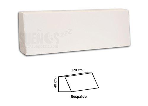 SUENOSZZZ- Respaldo de HR para palet. Enfundado en Polipiel Blanco. Exterior e interior. 120 x 80 x 40 x 15 (Forma de cuña)