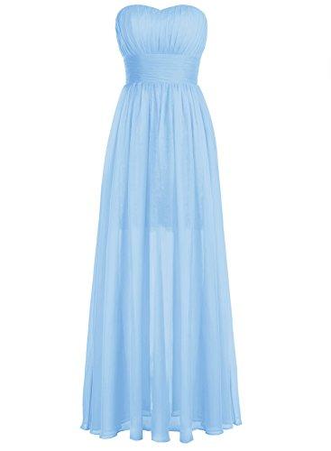 Bbonlinedress Robe de demoiselle d'honneur forme empire sans bretelles longueur ras du sol Bleu