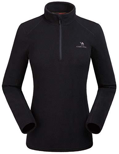 Camel Damen Half Zip Fleecejacke für Damen Pullover Langärmliges Sweatshirt Leichtes Outdoor Skirolli Fleeceshirt Schwarz EU 4XL