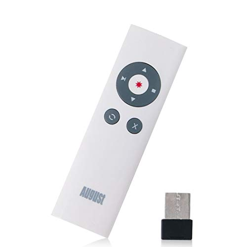 August LP200 Schnurloser Presenter mit Highlighter & Shortcuts für Power Point Präsentation, Reichweite der Fernbedienung bis zu 15m USB Empfänger, kompatibel mit Windows, Mac OS & Linux - Weiß