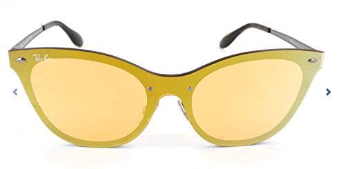 RAYBAN JUNIOR Damen Sonnenbrille Blaze Cat Eye Brushed Blue/Darkorangemirrorgold, 43