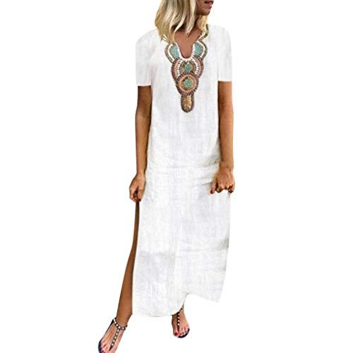 kleider damen Liusdh Sommermode Rundhals locker lässig Blumendruck langes Kleid Strandkleid(White4,S)