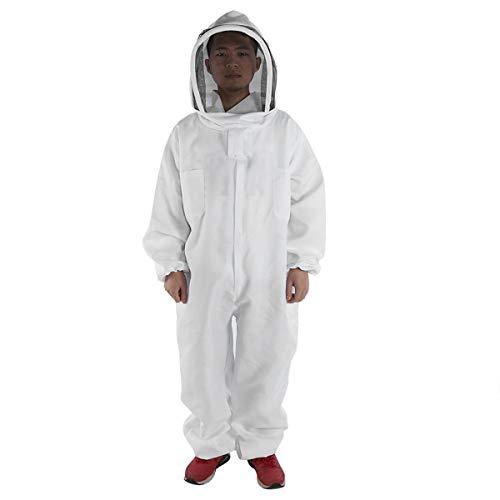 Slimerence Bienenenzug, Baumwolle, Weiß, dünnes Teil, Abnehmbarer Zaun-Overall mit Frontreißverschluss, 165-195 cm - Baumwoll-twill Overall