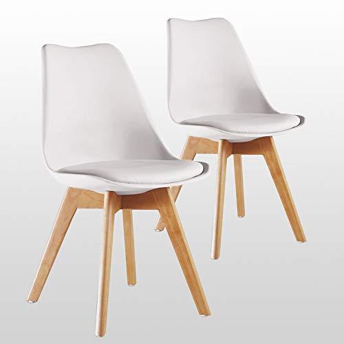 P&N Homewares - Lot de 2 Chaises Lorenzo Design Scandinave Blanche - Salle à Manger, Salon, Cuisine, Bureau - Assise Rembourrée - Livraison Gratuite