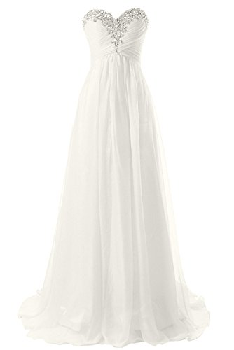 JAEDEN Brautkleid Lang Chiffon Hochzeitskleider Damen Elfenbein EUR34