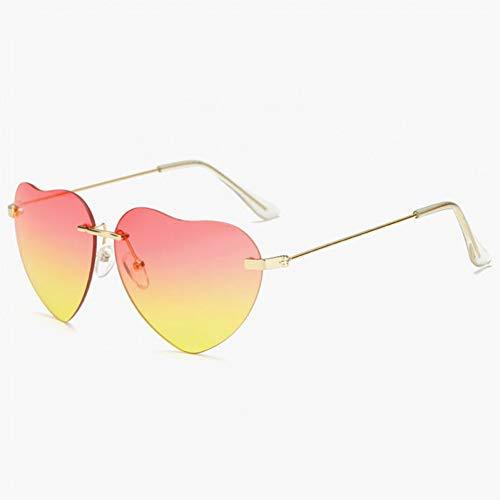Wenkang Mode Liebe Herz Sonnenbrille Frauen Randlose Sonnenbrille Rosa Rot Elegant Shades Lady Eyewear,2