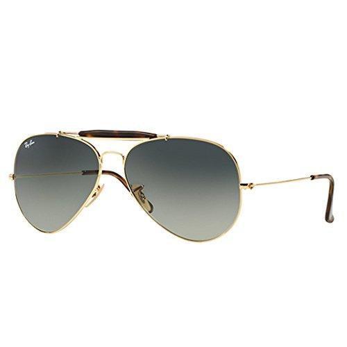 Ray-Ban Mens Outdoorsman Ii Sunglasses (RB3029) Gold/Grey Metal - Non-Polarized - 62mm - Outdoorsman Ray-ban Sonnenbrille