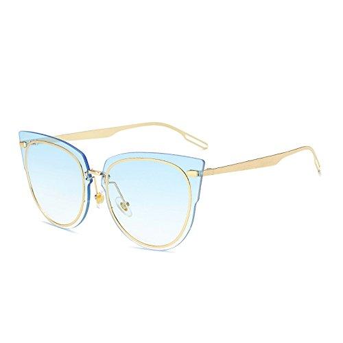 SUNGLASSES Neue Frauen Sonnenbrille Mode Ozean Tablet Fahren Sonnenbrille Metall Persönlichkeit Sonnenbrille (Farbe : Progressive Blue)