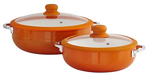 IMUSA USA Glass Lid & Ceramic Nonstick CHI-80685 2-Piece Caldero Set, Orange Caldero Set