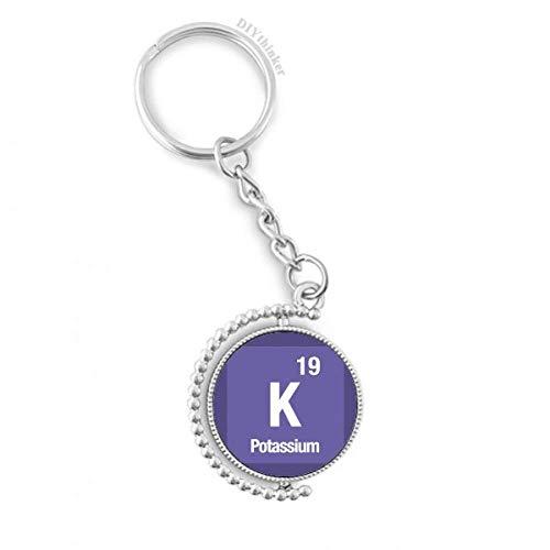DIYthinker K Kalium chemisches Element Chem Drehbare Schlüsselanhänger Ringe 1.2 Zoll x 3.5 Zoll Mehrfarbig