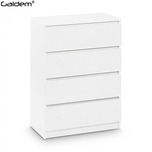 Home 4 Schubladen Kommode (Kommode mit 4 Schubladen Sideboard Mehrzweckschrank Anrichte Diele Flur Esszimmer Wohnzimmer Weiß)