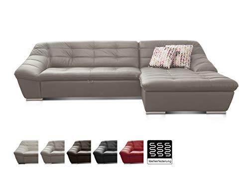 Cavadore Leder-Sofa Lucas / Ecksofa mit Schlaffunktion in Echtleder mit Steppung / Longchair rechts / Inkl. Bettfunktion und Bettkasten / Größe: 287 x 81 x 165 (BxHxT) / Leder grau