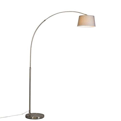 QAZQA Modern Bogenleuchte / Bogenlampe / Lampe / Leuchte Arc Stahl / Silber / nickel matt mit grauem Stoffschirm / Innenbeleuchtung / Wohnzimmer / Schlafzimmer Metall / Textil / Rund LED geeignet E27