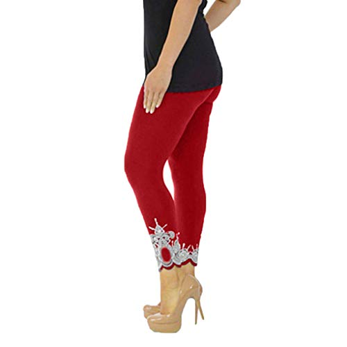 WOZOW Damen Leggings Gamaschen Solid Basic Lace Cuff Trousers Übergröße High Waist Stretch Elastisch Dünn Skinny Lang Long Sport Hose Yoga Stoffhose (5XL,Wein (Halloween Golf Kostüm Mädchen)