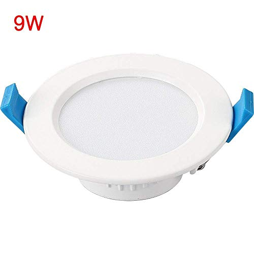 Wapipey 9W High Ra LED Runde integrierte Downlight Bekleidungsgeschäft Innenbeleuchtung Einbaustrahler Aluminium Acryl Embedded Decke Anti-Glare Panel Light (Color : White Light) -