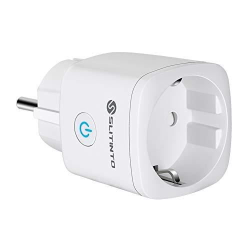 WLAN Smart Steckdose Mini Intelligente Plug Funktion mit Google Home und IFTTT, SLITINTO Wifi Stecker mit Fernbedienung, Timer, Stromverbrauch Messen, Kein Hub erforderlich, 16A (1 Pcs)