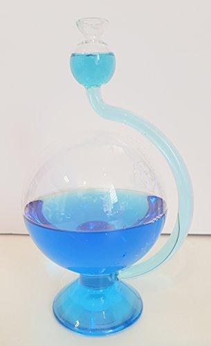 Barometer antiker Stil Wetterstation rund mit Wetterskala außen befüllt mit blauem destillierten...