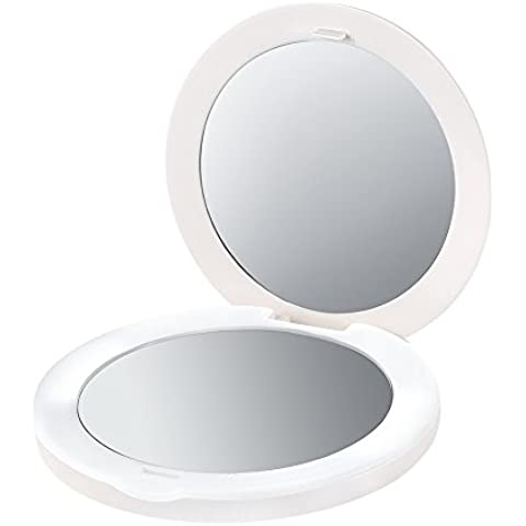 Plemo Espejo Portátil de Maquillaje con Luz LED Espejo, 2x de Aumento, Compacto