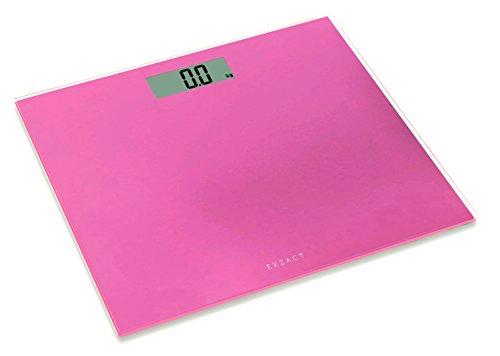 Exzact ColorSlim - Bilancia elettronica Corporea/ Pesapersone Digitale/ Scala elettronica corpo / Bilancia da bagno- Ultra sottile 1,7 cm di spessore -150 kg / 330 lb - piattaforma in vetro color (Rosa)