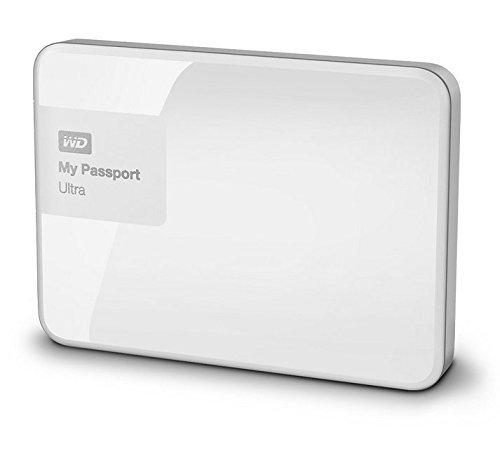 WD My Passport Ultra mobile externe Festplatte 6,4cm, 2,5' USB 3.0 mit Hardware Verschlüsselung, Passwortschutz - recertified, Kapazität:2.000GB (2TB), Farbe:Weiß