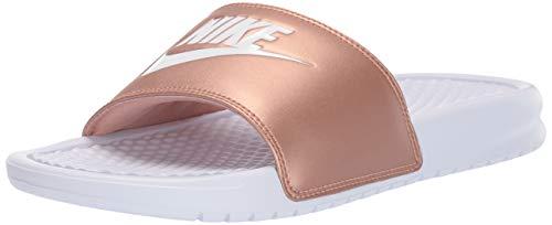 Nike wmns benassi jdi, scarpe da ginnastica basse donna, multicolore white/mtlc red bronze 108, 39 eu