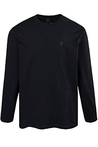JP 1880 Herren große Größen bis 8XL, Langarmshirt, Sweatshirt mit Logo-Stickerei, Basic, Rundhals, Regular Fit, Baumwolle schwarz 6XL 702559 10-6XL
