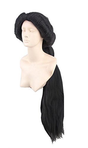 Halloween Prinzessin Jasmine Perücke Cosplay Kostüm Disney Lange Schwarze Flauschige Pferdeschwanz Haar Zubehör für Damen Verrücktes Kleid Merchandise
