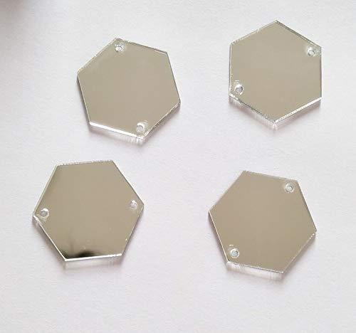 Meya Sew auf Sechseck Acryl Perlen, Spiegel mit Strass Kristall Flache Rückseite Spiegel Perlen mit Loch, silber