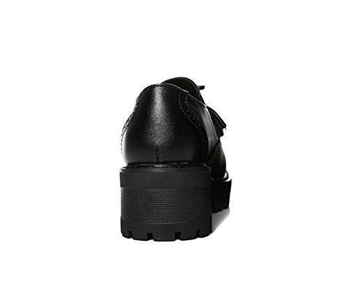 Printemps et automne Imperméable à l'eau Tassel Tête ronde Chaussures femme Black